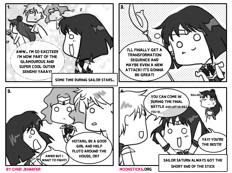 MoonSticks #48 Saturn's Exciting Return featuring the outer senshi Sailor Saturn/Hotaru Tomoe, Sailor Uranus/Haruka Tenou, Sailor Neptune/Michiru Kaiou and Sailor Pluto/Setsuna Meiou
