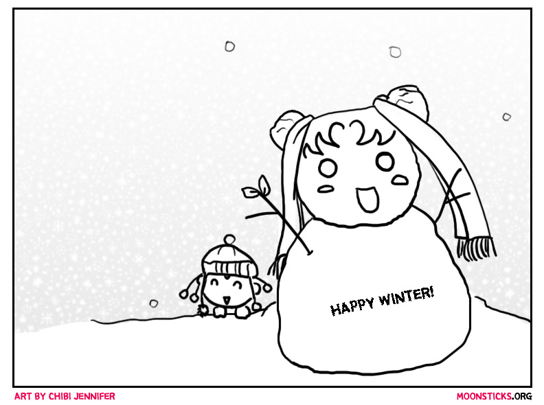 PallaPalla building a Sailor Moon snowman