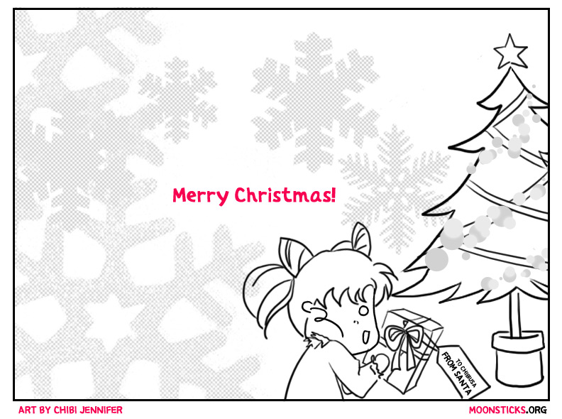 Chibiusa opening presents under a Christmas tree