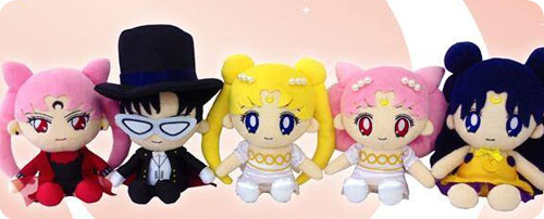Princess Serenity, Small Lady, Black Lady, Human Luna and Tuxedo Kamen Mini Plushies