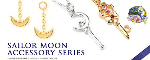 Premium Bandai Sailor Moon Silver 925 Moon Stick, Time Key and Earrings