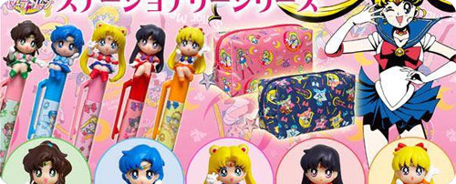 Sailor Moon Pens with Chibi Mascots & Pencil Cases